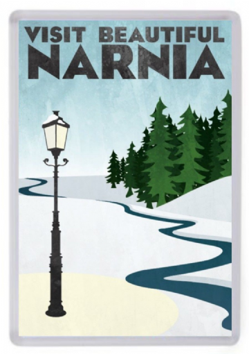 Visit Narnia Fridge Magnet. Travel Poster Style Art